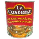 Catering Size La Costena Whole Green Pickled Jalapeno Peppers - 2.6kg